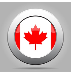 Metal button with flag of canada vector