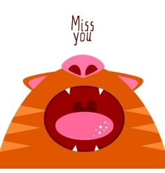 Miss you open cat mouth vector