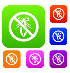no louse sign set collection vector image