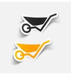 realistic design element wheelbarrow vector image