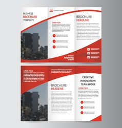 Red trifold leaflet brochure flyer templates set vector