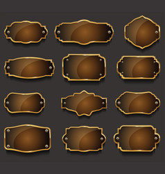 retro vintage golden frames collection vector image vector image
