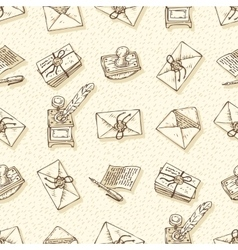 Seamless Pattern with Envelopes Ink Pens vector image vector image