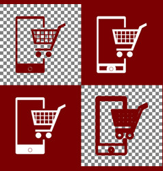 Shopping on smart phone sign bordo and vector