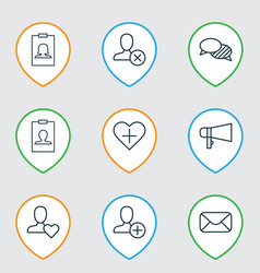 social icons set collection of favorite person vector image