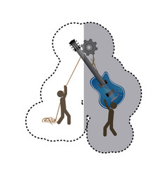 Sticker colorful workers with pulley holding vector