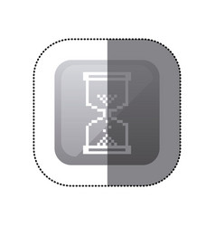Sticker grayscale square with hourglass icon vector