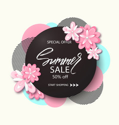 Summer sale background banner with beautiful pink vector