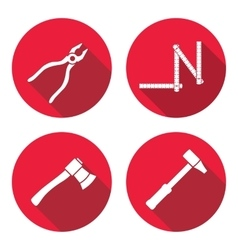 Tool icons set axe hammer zigzag folding rule vector