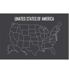 usa linear map with state boundaries blank white vector image vector image