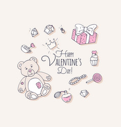 Valentines day hand drawn clip art vector