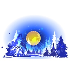 Winter forest at night vector image vector image