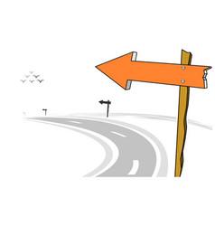 Wooden arrow sign post left curve road vector