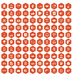 100 call center icons hexagon orange vector