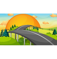 A long road with a sunset vector