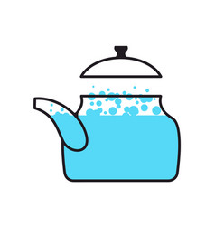 Kettle boiling wate teapot isolated kitchen vector
