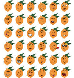 Set of funny lemon character emojis vector