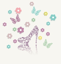 Vintage floral card of perfect shoes vector