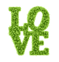 Word love from leaves vector