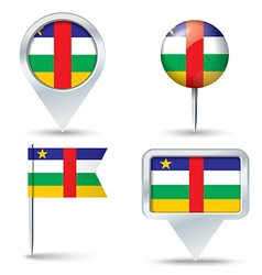 Map pins with flag of central african republic vector