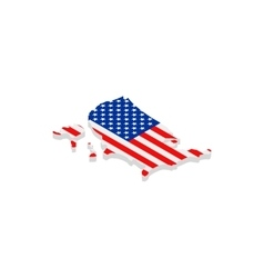Usa map with flag isometric 3d icon vector