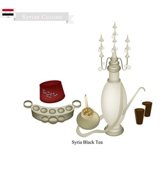 Traditional black hot tea popular dink in syria vector