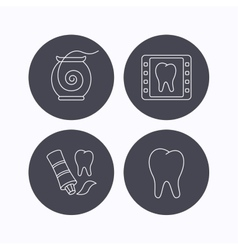 Dental floss tooth and toothpaste icons vector