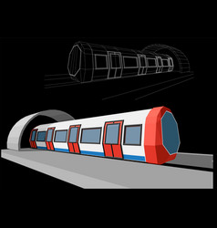 Abstract low-polygonal metro train vector