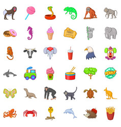 Animal zoo icons set cartoon style vector