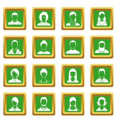 avatars set icons set green vector image vector image