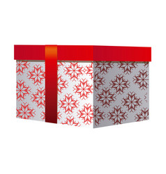 Box gift christmas decorative with red ribbon vector