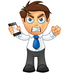 Business Man Angry With Mobile vector image