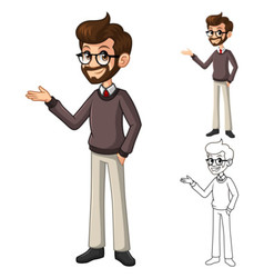 Businessman hipster geek with glasses vector
