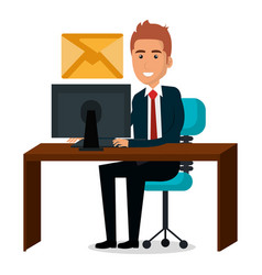 Businessman in workplace character vector