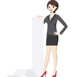 Businesswoman is holding a presentation paper vector image vector image