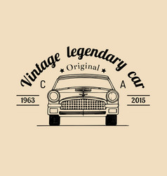 car repair logo with retro automobile vector image vector image