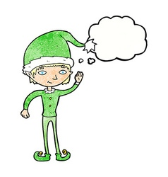 Cartoon waving christmas elf with thought bubble vector