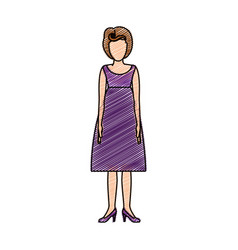 Color pencil drawing of woman with purple dress vector