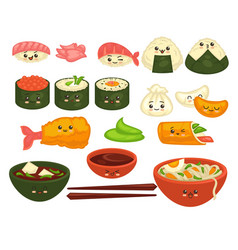 Cute asian dishes with faces set on white vector