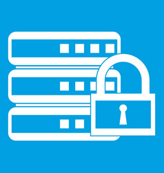 Database with padlock icon white vector