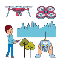 drone concept boy remote control city and tree vector image
