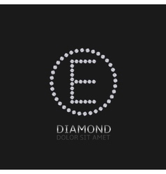E letter with diamonds vector image