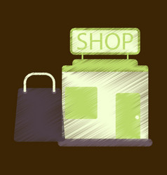 flat icon in shading style shop package vector image