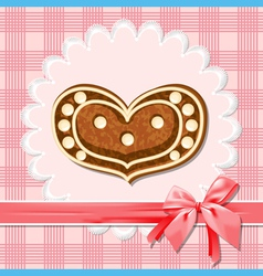 gingerbread heart vector image vector image