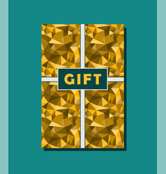 Golden and cyan vintage gift card design with vector
