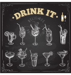 Hand drawn sketch set of alcoholic cocktails vector image vector image