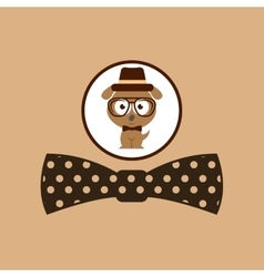 Hipster dog symbol bow tie design vintage vector