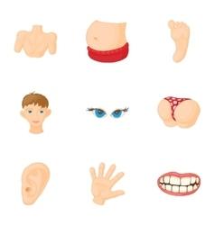 Human body icons set cartoon style vector