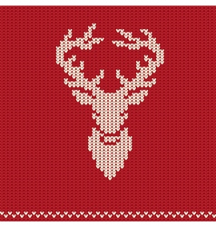 Knitted pattern with deer vector image vector image