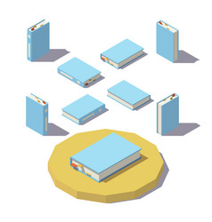 low poly isometric book vector image